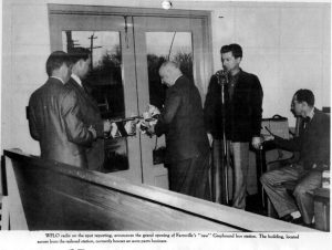 #Fromthearchives WFLO's Danny Shaver broadcasting from the Grand Opening of the Farmville bus depot.